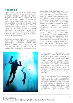 Diving Lessons Word Template, First Inner Page, 08111, Sports — PoweredTemplate.com