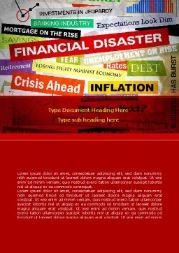 Financial Disaster Word Template, Cover Page, 08154, Financial/Accounting — PoweredTemplate.com