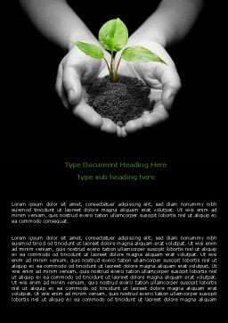 Sprout In Hands Word Template, Cover Page, 08162, Agriculture and Animals — PoweredTemplate.com