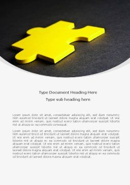 Yellow Jigsaw On A Dark Gray Surface Word Template, Cover Page, 08165, Consulting — PoweredTemplate.com