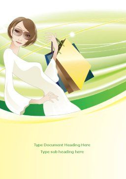 Girl Shopping Word Template Cover Page