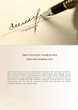 Signature In A Sepia Word Template, Cover Page, 08184, Business — PoweredTemplate.com