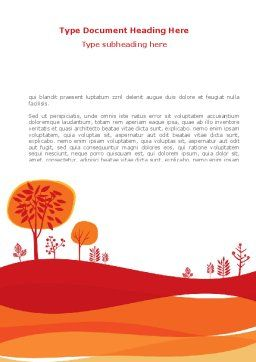 Orange Autumn Illustration Word Template Cover Page