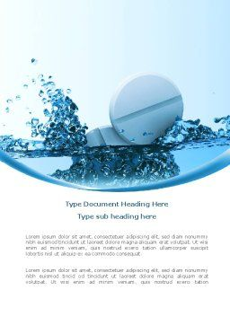Tablets In Water Word Template, Cover Page, 08192, Medical — PoweredTemplate.com