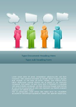 Speech Bubbles Word Template, Cover Page, 08198, Telecommunication — PoweredTemplate.com