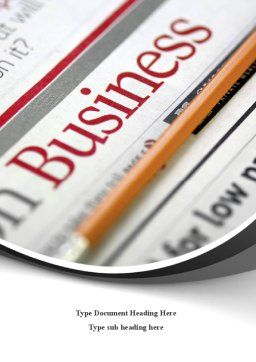 Business Newspaper Word Template, Cover Page, 08203, Business — PoweredTemplate.com