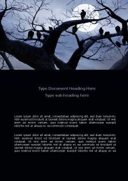 Moonlit Tree Word Template, Cover Page, 08204, Nature & Environment — PoweredTemplate.com