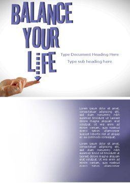 Balanced Life Word Template, Cover Page, 08210, Education & Training — PoweredTemplate.com