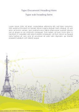 Paris Illustration Word Template, Cover Page, 08211, Construction — PoweredTemplate.com
