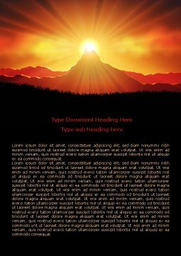 Sunrise in Mountains Word Template Cover Page