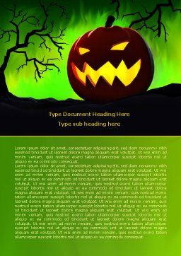 Jack-o-lantern On Scary Green Background Word Template, Cover Page, 08224, Holiday/Special Occasion — PoweredTemplate.com