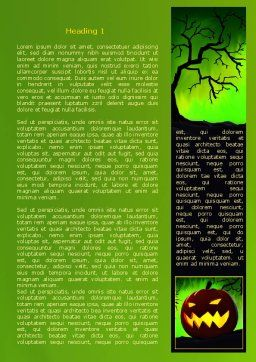 Jack-o-lantern On Scary Green Background Word Template, First Inner Page, 08224, Holiday/Special Occasion — PoweredTemplate.com