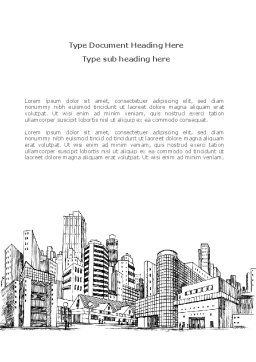 City Architecture Sketch Word Template, Cover Page, 08228, Construction — PoweredTemplate.com