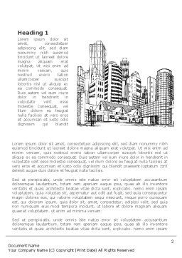 City Architecture Sketch Word Template, First Inner Page, 08228, Construction — PoweredTemplate.com