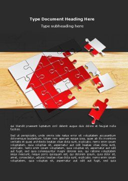 House Jigsaw Word Template, Cover Page, 08245, Financial/Accounting — PoweredTemplate.com