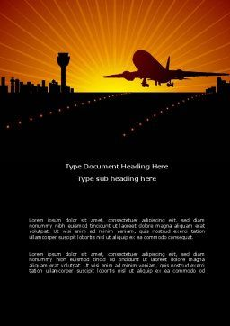 Airplane Landing Word Template, Cover Page, 08251, Cars/Transportation — PoweredTemplate.com