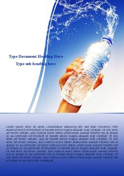 Mineral Water Word Template, Cover Page, 08260, Careers/Industry — PoweredTemplate.com
