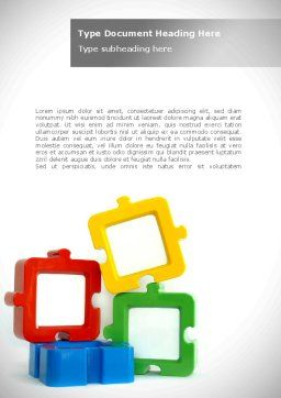 Square Puzzles Word Template, Cover Page, 08261, Business — PoweredTemplate.com