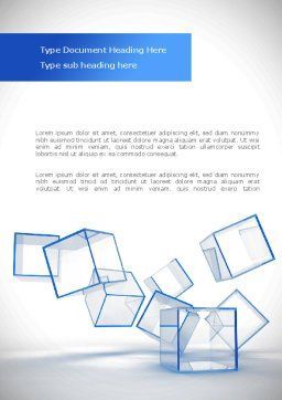 Glass Cubes Word Template, Cover Page, 08276, Business — PoweredTemplate.com