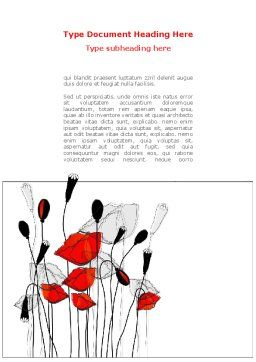 Stylized Poppies Word Template Cover Page