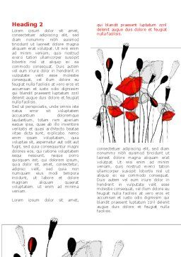 Stylized Poppies Word Template, First Inner Page, 08283, Art & Entertainment — PoweredTemplate.com