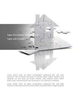 Gray Puzzle House Word Template, Cover Page, 08291, Construction — PoweredTemplate.com