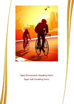 Bicycle Racing In Sunset Word Template, Cover Page, 08301, Sports — PoweredTemplate.com