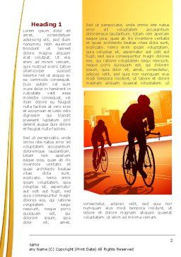 Bicycle Racing In Sunset Word Template, First Inner Page, 08301, Sports — PoweredTemplate.com
