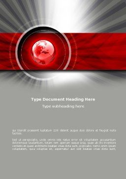 Red Globe Theme Word Template, Cover Page, 08312, Global — PoweredTemplate.com