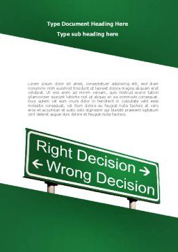 Right Decision Sign Word Template, Cover Page, 08313, Consulting — PoweredTemplate.com