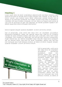 Right Decision Sign Word Template, First Inner Page, 08313, Consulting — PoweredTemplate.com