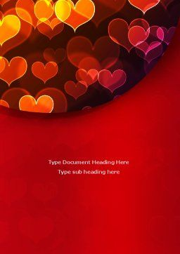 Heart Shaped Lights Word Template, Cover Page, 08324, Holiday/Special Occasion — PoweredTemplate.com
