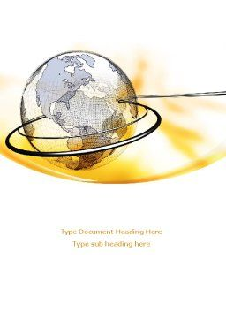 Yellow Globe Word Template, Cover Page, 08345, Global — PoweredTemplate.com
