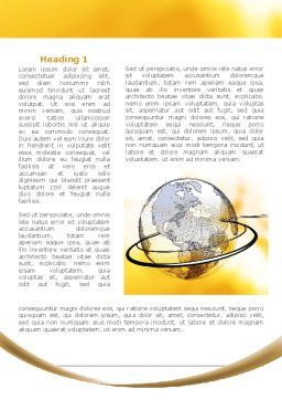Yellow Globe Word Template, First Inner Page, 08345, Global — PoweredTemplate.com