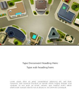 Building Satellite View Word Template, Cover Page, 08346, Construction — PoweredTemplate.com