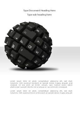 Keyboard Ball Word Template, Cover Page, 08366, Technology, Science & Computers — PoweredTemplate.com