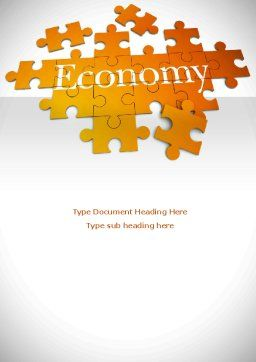 Economy Puzzle Word Template, Cover Page, 08393, Financial/Accounting — PoweredTemplate.com