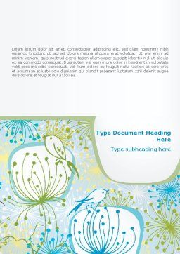 Flowers and Birds Word Template Cover Page