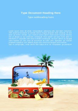 Vacation Suitcase Word Template, Cover Page, 08412, Careers/Industry — PoweredTemplate.com