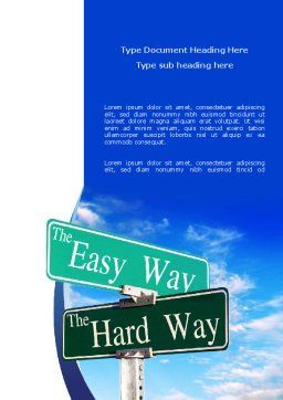 Easy or Hard Way Word Template, Cover Page, 08420, Consulting — PoweredTemplate.com