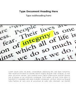 Integrity Business Word Template, Cover Page, 08436, Business Concepts — PoweredTemplate.com