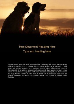 Dog Couple Word Template, Cover Page, 08454, Agriculture and Animals — PoweredTemplate.com