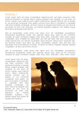 Dog Couple Word Template, First Inner Page, 08454, Agriculture and Animals — PoweredTemplate.com