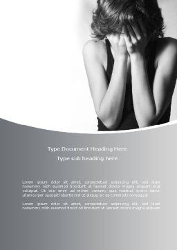 Crying Woman Word Template, Cover Page, 08465, People — PoweredTemplate.com