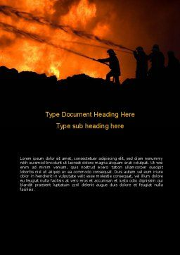 Fire Fighting On Massive Fire Word Template, Cover Page, 08472, Nature & Environment — PoweredTemplate.com