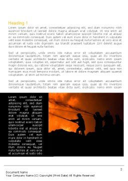 Fire Fighting On Massive Fire Word Template, First Inner Page, 08472, Nature & Environment — PoweredTemplate.com