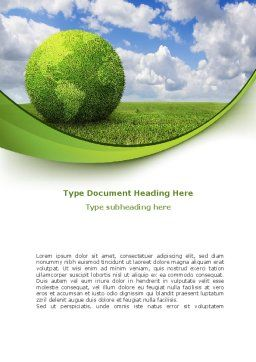 Green Globe Word Template, Cover Page, 08493, Nature & Environment — PoweredTemplate.com
