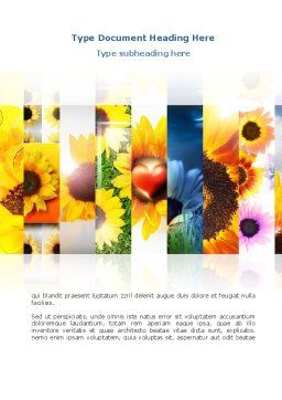 Open Flowers Bright Collage Word Template, Cover Page, 08533, Holiday/Special Occasion — PoweredTemplate.com