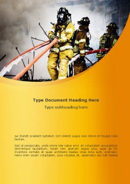 Firefighters with Firehose Word Template, Cover Page, 08541, Nature & Environment — PoweredTemplate.com