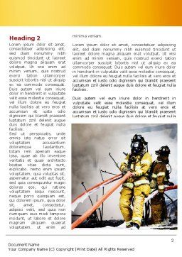 Firefighters with Firehose Word Template, First Inner Page, 08541, Nature & Environment — PoweredTemplate.com